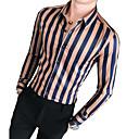 abordables Camisas de Hombre-Hombre Básico Camisa A Rayas Marrón XL / Manga Larga