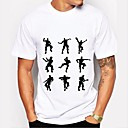 billige T-shirts og undertrøjer til herrer-Rund hals Herre - Grafisk Bomuld, Trykt mønster Basale T-shirt Sort og hvid Hvid XL / Kortærmet