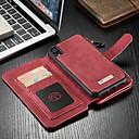 رخيصةأون ملصقات ديكور-غطاء من أجل Apple iPhone XR محفظة / حامل البطاقات / مع حامل غطاء كامل للجسم لون سادة قاسي جلد PU