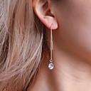 저렴한 귀걸이-여성용 모조 큐빅 클래식 롱 드랍 귀걸이 크리스탈 모조 큐빅 귀걸이 숙녀 단순한 클래식 한국어 보석류 골드 / 실버 제품 데이트 작동 1 쌍