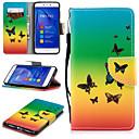 preiswerte Galaxy S Serie Hüllen / Cover-Hülle Für Huawei P8 Lite (2017) Geldbeutel / Kreditkartenfächer / Stoßresistent Ganzkörper-Gehäuse Schmetterling Hart PU-Leder für P8 Lite (2017)