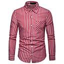 tanie Męskie koszule-Koszula Męskie Bawełna Praca Prążki / Kolorowy blok / Długi rękaw