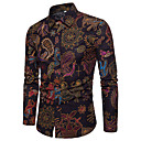 cheap Men's Shirts-Men's Street chic / Punk & Gothic Shirt - Floral / Color Block Print