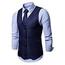 رخيصةأون قمصان رجالي-رجالي أسود أزرق البحرية كاكي L XL XXL Vest لون سادة V رقبة نحيل / بدون كم