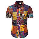 billige T-skjorter og singleter til herrer-Klassisk krage Store størrelser Skjorte Herre - Geometrisk, Trykt mønster Rød XXXL