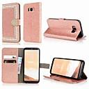 Недорогие Чехлы и кейсы для Galaxy S5 Mini-Кейс для Назначение SSamsung Galaxy S9 / S9 Plus / S8 Plus Кошелек / Бумажник для карт / Стразы Чехол Однотонный / Сияние и блеск / Стразы Твердый Кожа PU