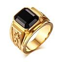 זול טבעות-בגדי ריקוד גברים שחור טבעת טבעת החותם Fashion Ring תכשיטים זהב /  שחור עבור מתנה יומי
