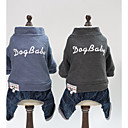cheap Dog Clothing & Accessories-Dogs Cats Coat Dog Clothes Character Slogan Gray Light Blue Cotton Costume For Bulldog Shiba Inu Pug Fall Winter Unisex Casual / Daily Warm Ups