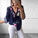 baratos Blusas Femininas-Mulheres Blusa Floral Decote V Delgado Verde M