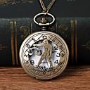 ieftine Ceasuri Bărbați-Bărbați Ceas de buzunar Quartz Bronz Gravură scobită Ceas Casual Mare Dial Analog Modă Schelet - Bronz