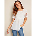 baratos Blusas Femininas-Mulheres Blusa Moda de Rua / Elegante Renda / Patchwork / Guarnição do laço, Sólido Branco US12