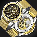 ieftine Ceasuri Bărbați-Bărbați ceas mecanic Japoneză Mecanism automat Oțel inoxidabil Argint / Auriu 30 m Gravură scobită Ceas Casual Analog Lux Modă - Auriu Argintiu