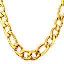 ieftine Coliere-Bărbați Lănțișoare Lănțișor Figaro lanț Mariner Chain Simplu Modă 18K Placat cu Aur Oțel titan Auriu Negru Argintiu 55 cm Coliere Bijuterii 1 buc Pentru Absolvire Cadou Zilnic Școală