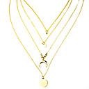 ieftine Colier la Modă-Pentru femei Coliere Layered stivuibil MOON La modă Crom Auriu 63 cm Coliere Bijuterii 1 buc Pentru Zilnic Festival