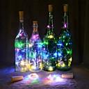 رخيصةأون شرائط ضوء مرنة LED-2M شرائط قابلة للانثناء لأضواء LED 20 المصابيح أبيض دافئ / لون متعدد عيد الميلاد الديكور الزفاف / زجاجة النبيذ سدادة كورك الأسلاك النحاسية بطاريات تعمل بالطاقة 1PC