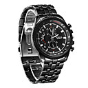 ieftine Becuri LED Robinet-Bărbați Ceas Elegant Aviation Watch Quartz Oțel inoxidabil Negru Rezistent la Șoc Ceas Casual Analog Lux Ceas Global - Negru Un an Durată de Viaţă Baterie