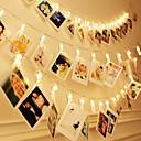ieftine Fâșii Becurie LED-Brelong sfoară led impermeabilă 3m 30 clipuri led cu baterie alimentată de zână petrecere de nuntă Crăciun lumini decor acasă pentru agățat carduri fotografii lucrări de artă