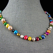 Perla Collar con perlas - Perla, Plata de ley Rosa, Arco iris Gargantillas Para Fiesta, Aniversario, Regalo / Diario