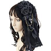 Joyas Gosurori Para la Cabeza Princesa Negro Accesorios de Lolita Tocados Lazo por Encaje Satén Gemas Artificiales