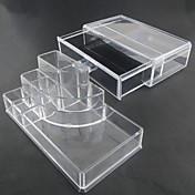akryl gjennomsiktig kompleks kombinert dobbeltlags kosmetikk oppbevarings med skuff kosmetiske arrangør