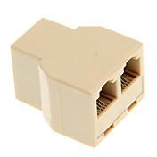 Cable de teléfono 1-a-2 Mujer-Mujer Spliter acoplador (Amarillo)