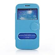 용 삼성 갤럭시 케이스 윈도우 / 플립 케이스 풀 바디 케이스 단색 인조 가죽 Samsung Grand 2
