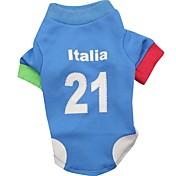 Gato Perro Sudadera Camiseta Ropa para Perro Letra y Número Azul Terileno Disfraz Para mascotas Hombre Mujer Deportes