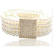 Mujer Perla Artificial Cinturón Ancho - Bonito Casual Un Color