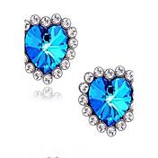 Pendientes cortos Zafiro Sintético Lujo Amor Piedras preciosas sintéticas Brillante Vidrio Diamante Sintético Legierung Corazón Joyas