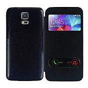 Etui Til Samsung Galaxy Samsung Galaxy Etui med vindu Flipp Ultratynn Heldekkende etui Helfarge PU Leather til S5