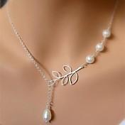 Mujer Collares con colgantes / Collar con perlas  -  Perla Forma de Hoja Diseño Único, Borla, Europeo Plata Gargantillas Para Boda, Fiesta, Cumpleaños
