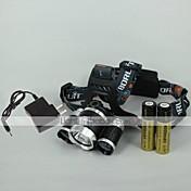 4 Hodelykter Frontlykt LED 2400 lm 4.0 Modus LED med batterier og lader Justerbart Fokus Oppladbar Camping/Vandring/Grotte Udforskning