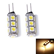 G4 Luces LED de Doble Pin 13 leds SMD 5050 Blanco Cálido 130~150lm 3000~3500K DC 12V