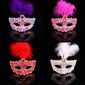 fashion farge fjær blonder karneval maske