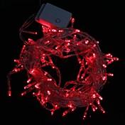 Lámpara LED tira luz roja 9.6w 10m navidad destello 100 liderada por (enchufe de la UE, ac 220v)