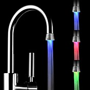 rc-f1101 mini stilig vannstråle temperatursensor lysende LED lys tappekran lys (plast, krom)