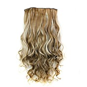 24 pulgadas 120g resistente fibra sintética Clip rizado largo calor en las extensiones de cabello con 5 clips