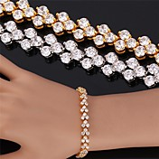 u7® alta calidad chapado en oro hermoso verdadero 18k circón cúbico pulsera brazalete romano para las mujeres