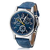 Hombre Reloj de Pulsera Cuarzo Reloj Casual Piel PU Banda Analógico Casual Negro / Blanco / Azul - Blanco Negro Azul Un año Vida de la Batería