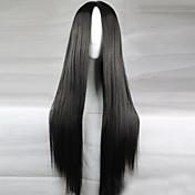 Mujer Pelucas sintéticas Largo Corte Recto Negro negro peluca Pelucas para Disfraz