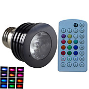 E14 GU10 B22 E26/E27 Focos LED MR16 1 leds LED de Alta Potencia Regulable Activada por Sonido Control Remoto Decorativa RGB 500lm