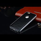 iphone 6 lujo protección marco de metal con tapa trasera de cuero (colores surtidos)