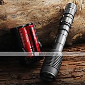 LED손전등 손전등 LED 2000 lm 5 모드 Cree XM-L T6 조절가능한 초점 줌이 가능한 용 캠핑/등산/동굴탐험 일상용 여행 일 블랙