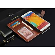 제품 Samsung Galaxy Note 케이스 커버 지갑 카드 홀더 스탠드 플립 풀 바디 케이스 한 색상 인조 가죽 용 Samsung Galaxy Note 3