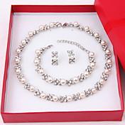 Dame Perle Fuskediamant Smykkesett 1 Halskjede 1 Par Øredobber 1 Armbånd - Elegant Sirkelformet Hvit Smykke Sett Øredobber Perlehalskjede