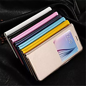 Etui Til Samsung Galaxy Samsung Galaxy Etui med vindu Heldekkende etui Helfarge PU Leather til S6 edge plus
