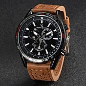 V6 Hombre Reloj de Pulsera Cuarzo Cuarzo Japonés Reloj Casual Piel Banda Encanto Negro Marrón Caqui