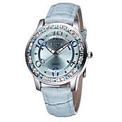 SKONE Mujer Reloj de Moda Reloj Casual Simulado Diamante Reloj Cuarzo Resistente al Agua La imitación de diamante Piel BandaBlanco Azul