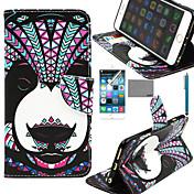 panda patrón tribal lexy® pu funda de piel de todo el cuerpo con protector de pantalla y el stylus para el iphone 6 / 6s