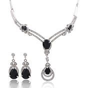 여성 보석 세트 크리스탈 사치 패션 결혼식 파티 일상 캐쥬얼 지르콘 모조 다이아몬드 합금 귀걸이 목걸이
